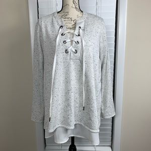 Simply Vera lace up layered sweater